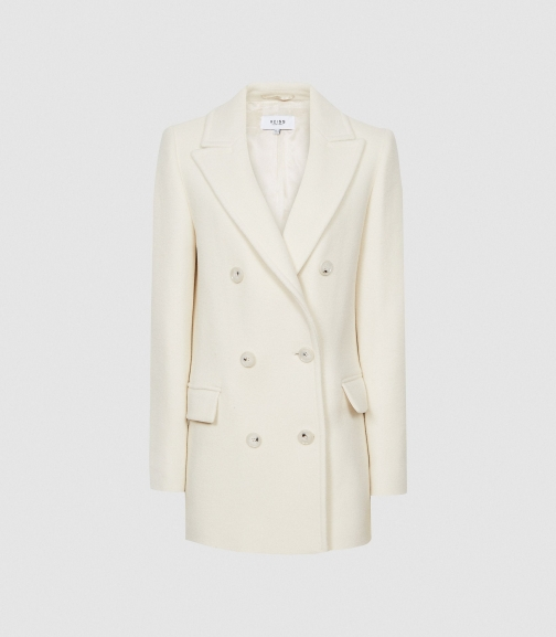 Reiss Wiles - Wool Blend Peacoat Cream, Womens, Size 4 Jacket