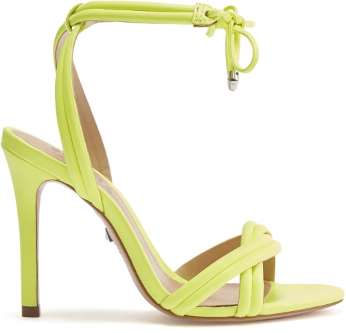 Schutz Shoes Yvi Sandal - 5 Neon Yellow Leather Sandals
