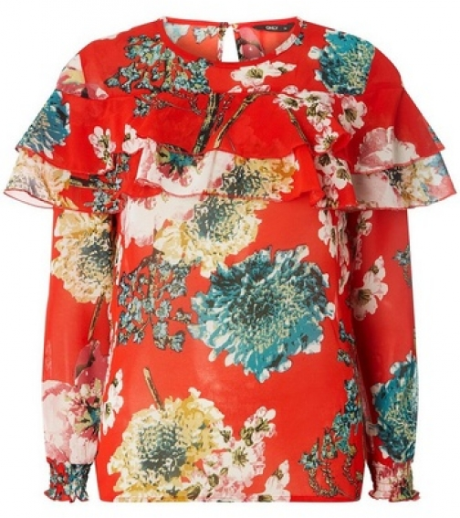 Dorothy Perkins Womens **Only Red Floral Frill - Red, Red Blouse