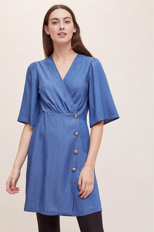 Seen Worn Kept Mini-Wrap Chambray Dress