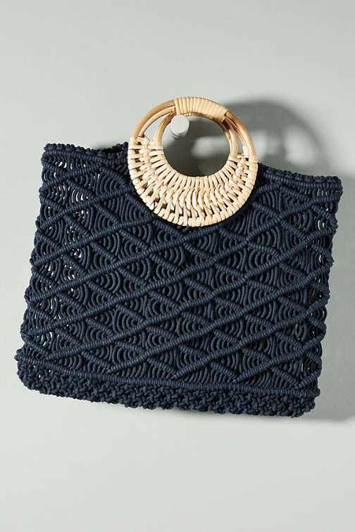 Anthropologie Woven Macrame Bag Tote