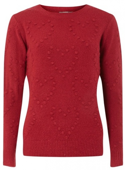 Dorothy Perkins Womens Petite Cranberry Heart - Red, Red Jumper