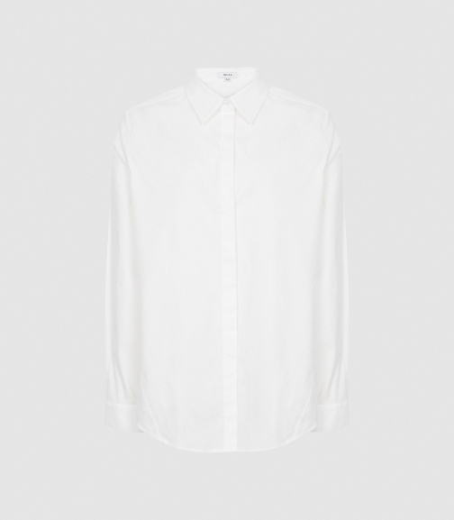 Reiss Paola - Relaxed Boyfriend White, Womens, Size 4 Shirt