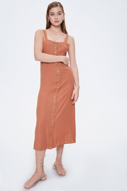 Forever21 Forever 21 Button-Front , Camel Midi Dress