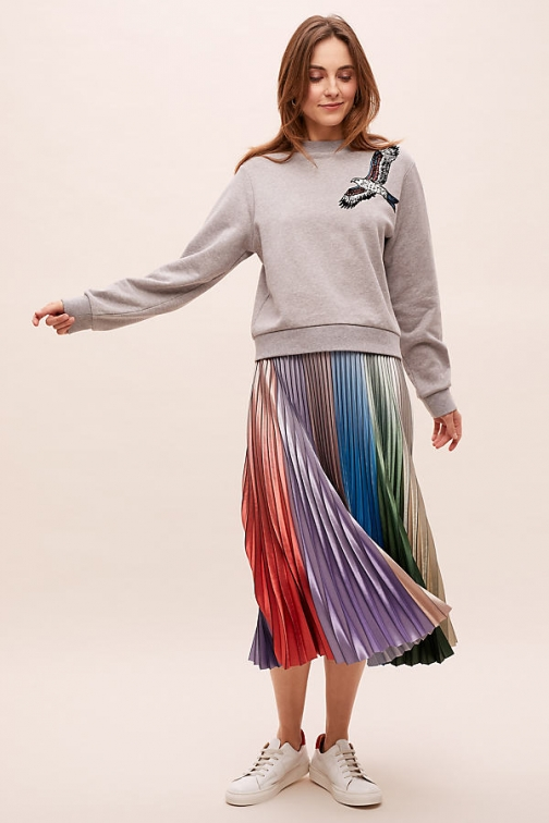 Anthropologie Metallic-Striped Pleated Skirt