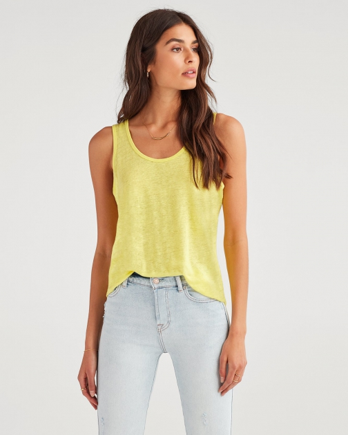 7 For All Mankind Women's Scoop Neck Tank Sunflower Tank Top
