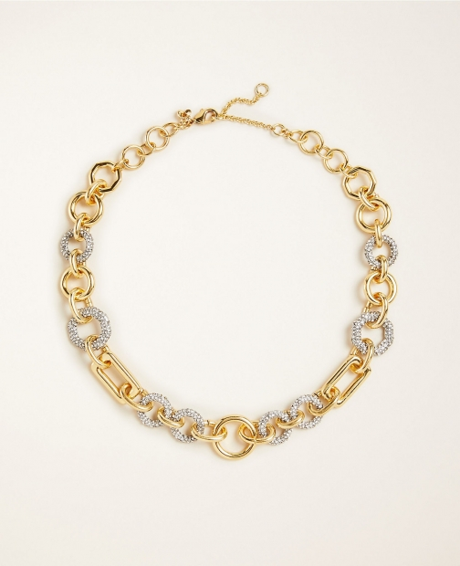 Ann Taylor Geo Link Pave Statement Necklace