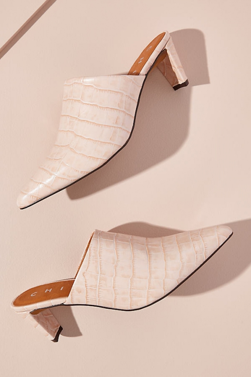 Anthropologie Chio Snake-Effect Leather Mules