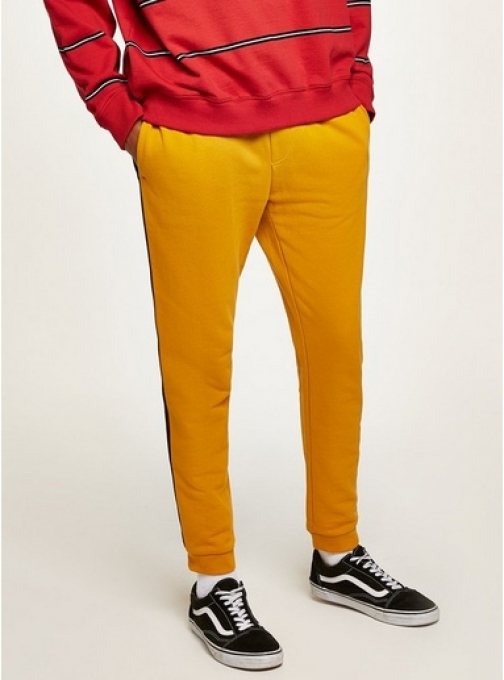 Topman Mens Yellow And Black Side Taping Joggers, Yellow Athletic Pant