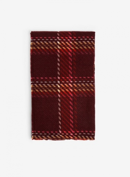 Dorothy Perkins Womens Burgundy Gradient Check - Red, Red Scarf