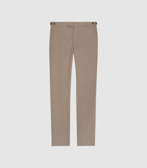 Reiss Class - Cotton-blend Twill Trousers Taupe, Mens, Size 28 Trouser