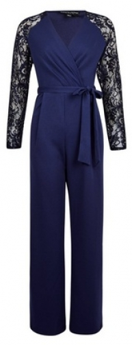 Dorothy Perkins Navy Lace Sleeve Jumpsuit
