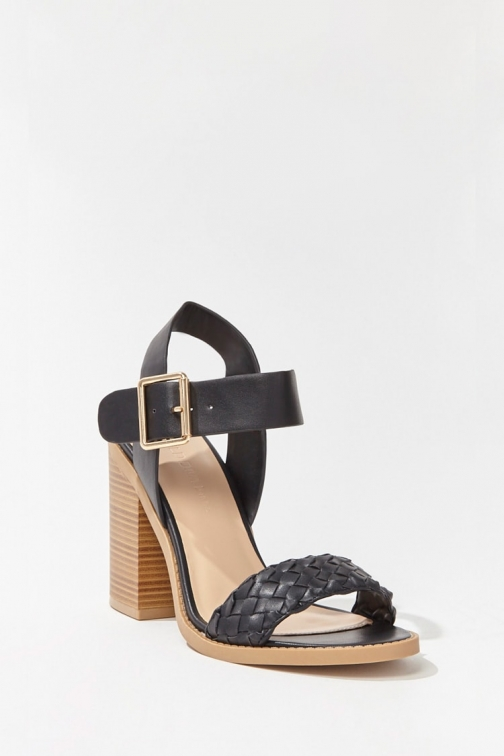 Forever21 Forever 21 Faux Leather Buckled Block Heels , Black Shoes