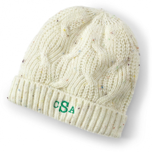 Lands' End Women's Cable Knit Winter Hat - Lands' End - Ivory - S-M Beanie
