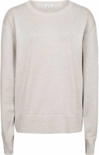 Reiss Emily - Metallic Crew-neck Silver, Womens, Size L Jumper