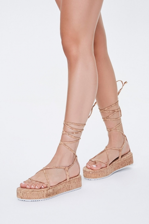 Forever21 Forever 21 Lace-Up Cork , Natural Sandals