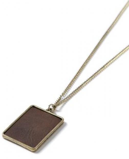 Topman Mens Brown Faux Leather Dog Tag *, Brown Necklace
