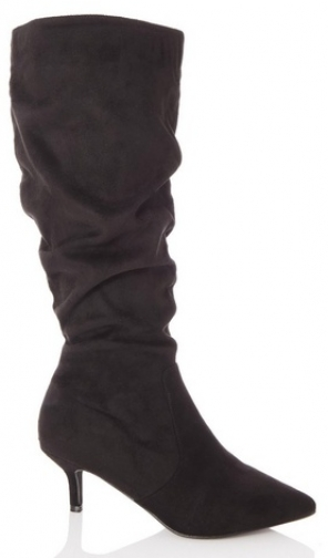 Quiz Black Faux Suede Ruched Boot