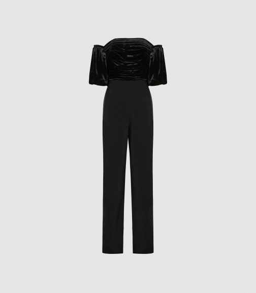 Reiss Julianna - Velvet Puff-sleeve Black, Womens, Size 4 Jumpsuit