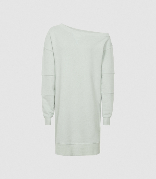 Reiss Portia - Off-the-shoulder Sweatshirt Sage, Womens, Size XS Dress
