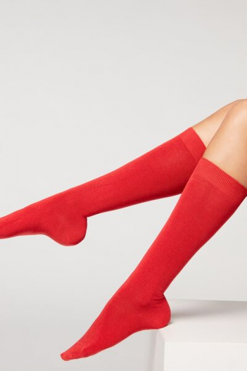 Calzedonia Long Cotton With Cashmere Woman Red Size 36-38 Sock