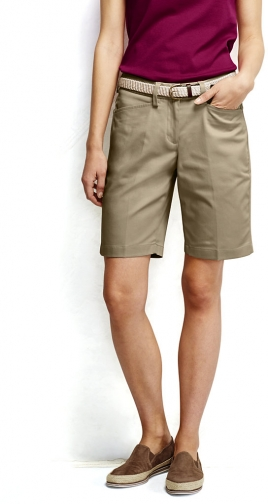 "Lands' End Women's Straight Fit Plain 10"" Chino - Lands' End - Tan - 6 Short"