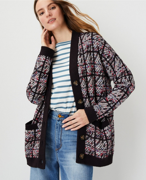 Ann Taylor Tweedy Plaid Boyfriend Cardigan