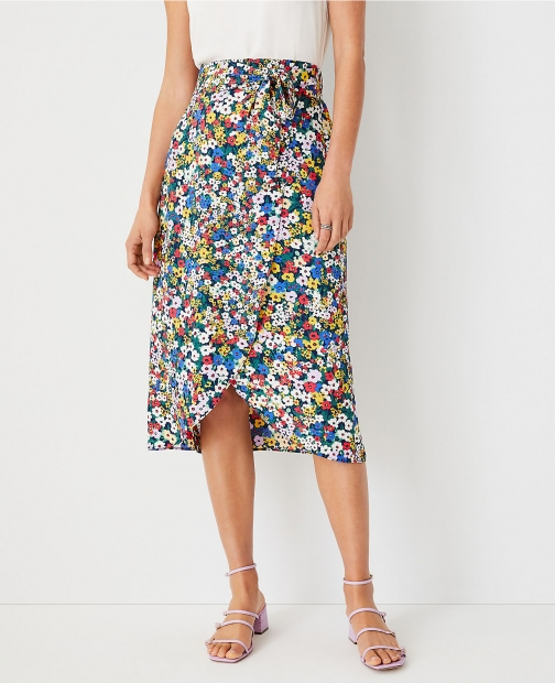 Ann Taylor Floral Tie Waist Wrap Pencil Skirt
