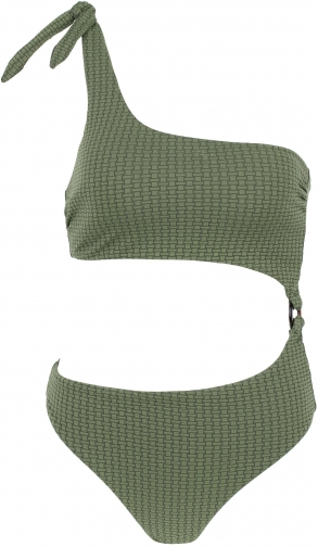 Calzedonia - Marta One-shoulder Cut-out , M, Green, Women Swimsuit