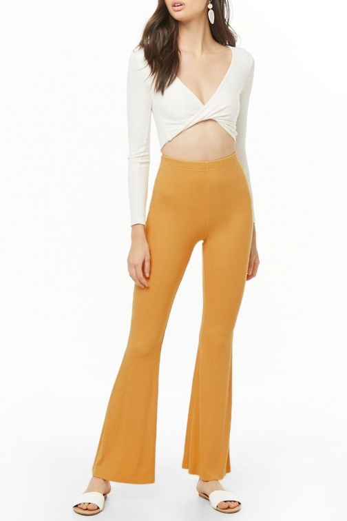 Forever21 Forever 21 Ribbed Flare Pants Yellow Trouser