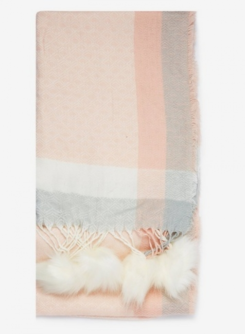 Dorothy Perkins Womens Cream And Pink Pom Pom Edge - Pink, Pink Scarf