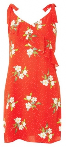 Dorothy Perkins Womens Red Ruffled Floral Print Sundress- Red, Red Dress