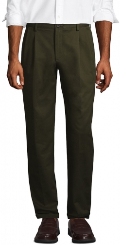 Lands' End Men's Comfort Waist Pleated No Iron Pants - Lands' End - Green - 37 Chino