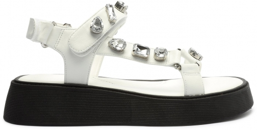 Schutz Shoes Jaddy Leather Flat Sandal - 5 White Leather Sandals