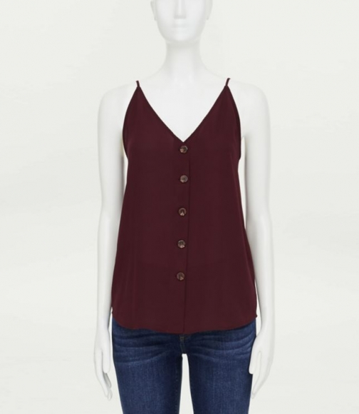 Loft Button V-Neck Cami Top