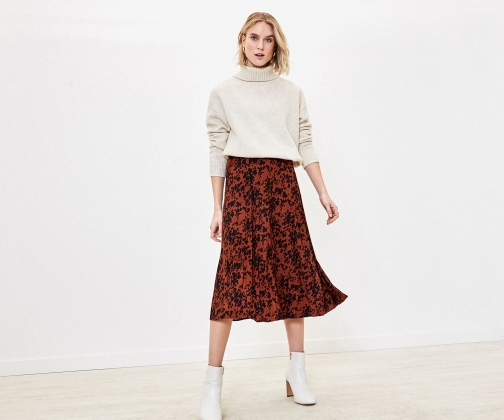 Oasis Leopard Heart Pleat Skirt