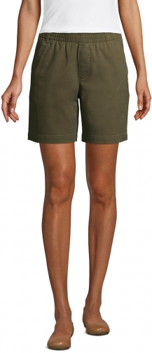 """Lands' End Women's Pull On 7"""" Chino - Lands' End - Green - 2 Short"""