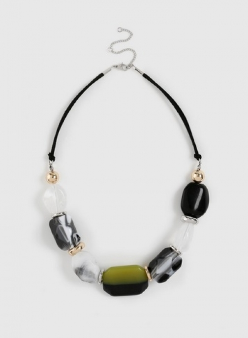 Dorothy Perkins Mono And Lime Bead Necklace