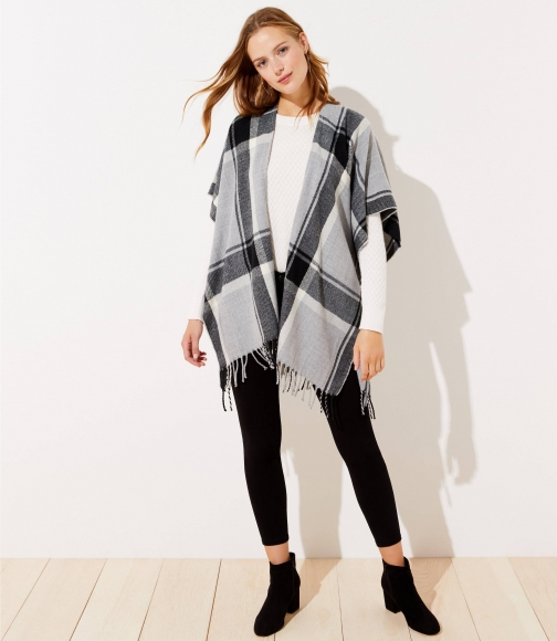Loft Plaid Fringed Wrap Poncho
