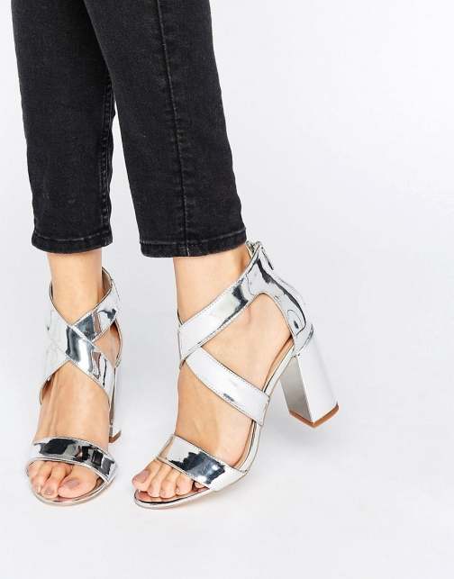 London Rebel Metallic Block Heel Sandal