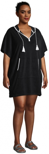 Lands' End Women's Plus Size Terry V-neck Short Sleeve Hooded Swim Cover-up Dress With Pocket - Lands' End - Black - 1X2X Swimwear
