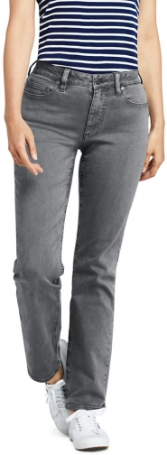 Lands' End Women's Curvy Mid Rise - Color - Lands' End - Gray - 2 30 Straight Leg Jeans