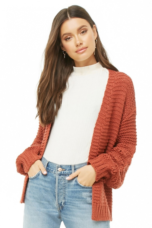 Forever21 Forever 21 Boxy Open-Front Rust Cardigan