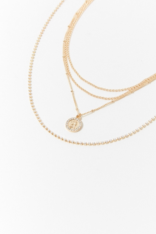 Forever21 Forever 21 Coin Charm Necklace Set , Gold/clear Jewellery
