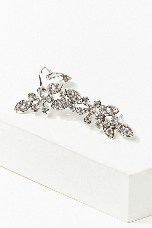 Forever21 Forever 21 Floral Rhinestone Ear , Silver/clear Cuff