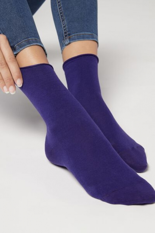 Calzedonia Non-Elastic Cotton Ankle Woman Violet Size 36-38 Sock