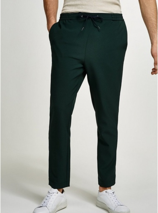 Topman Mens Green Slim Cropped Taping Joggers, Green Athletic Pant