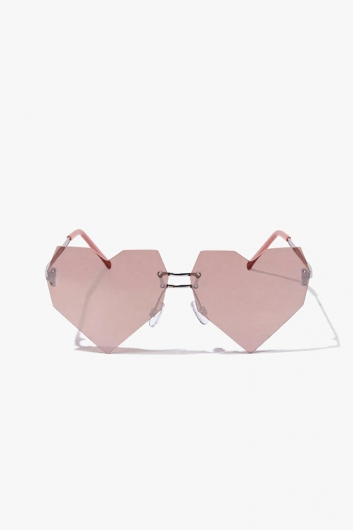 Forever21 Forever 21 Mirrored Heart-Shaped , Pink/rose Gold Sunglasses