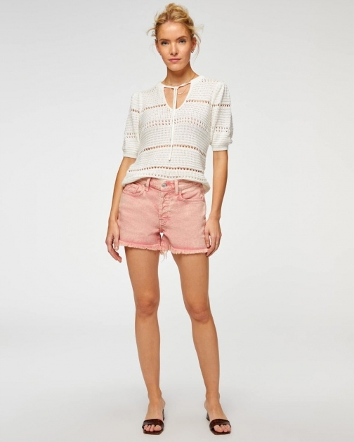 7 For All Mankind Womens Monroe Cut-Off Short Mineral Rose Size: 23 Trouser
