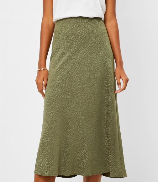 Loft Jacquard Pull On Midi Skirt
